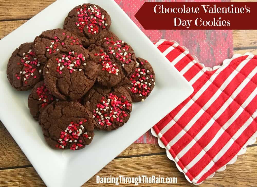 Chocolate Valentine's Day Cookies on a plate