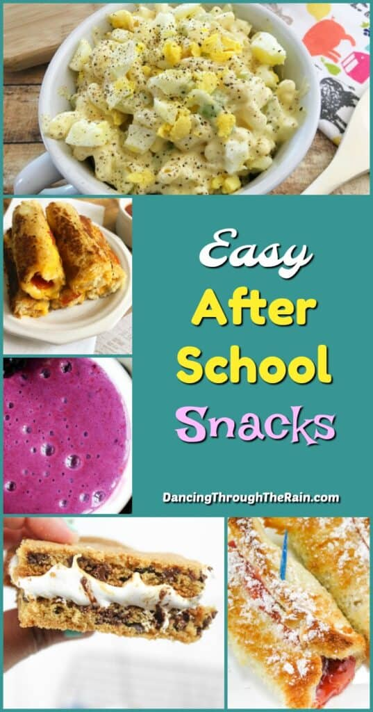 A bunch of pictures of Easy After School Snacks including Pepperoni Rollups, Blackberry Raspberry Smoothie and Macaroni Egg Salad