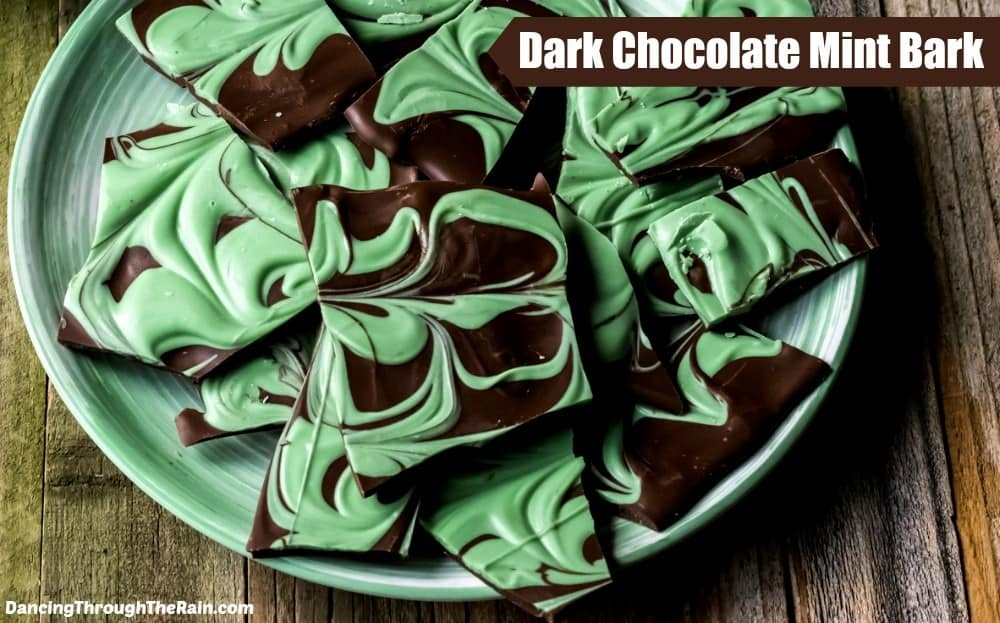 Dark Chocolate Mint Bark on a mint green plate