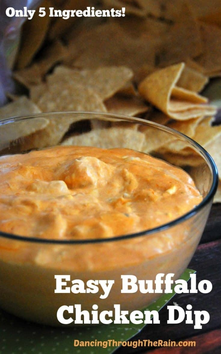This easy Buffalo Chicken Dip recipe with chicken and ranch is a killer appetizer that you can make in minutes. Only 5 ingredients!