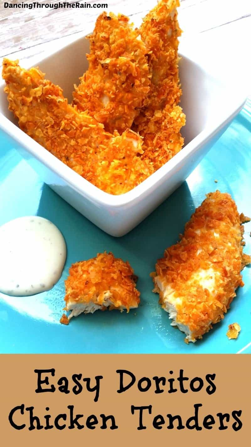 Doritos chicken tenders on an aqua plate with ranch dressing