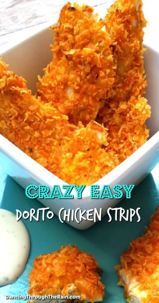 Four crazy easy Dorito Chicken Strips in a white square bowl and cut in half on a turquoise plate