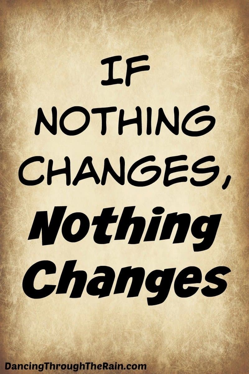 A brown background that looks like a piece of old paper with the words If Nothing Changes, Nothing Changes