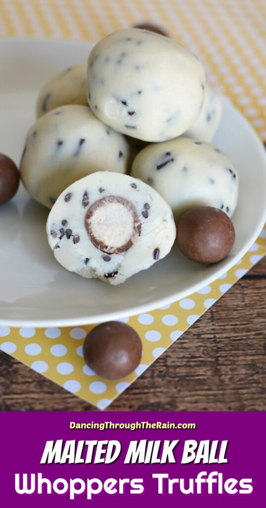 A pile of Malted Milk Ball Whoppers Truffles on a white plate on a yellow polka dot placemat