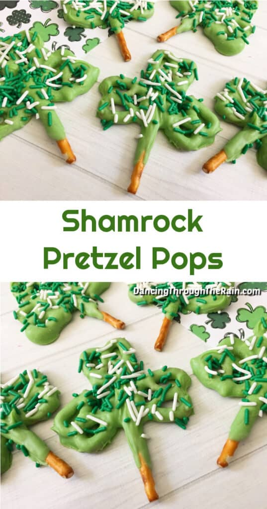 Two pictures of Shamrock Pretzels on a wooden table