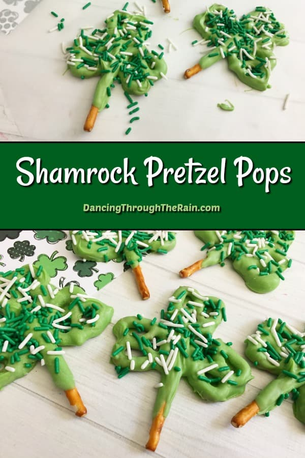 Shamrock Pretzel Pops in two different photos