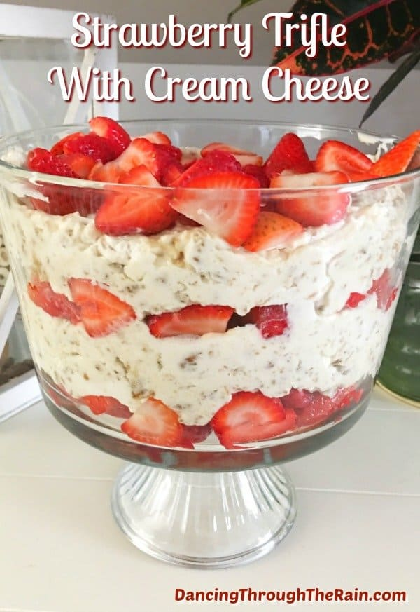 Strawberry trifle in a trifle bowl