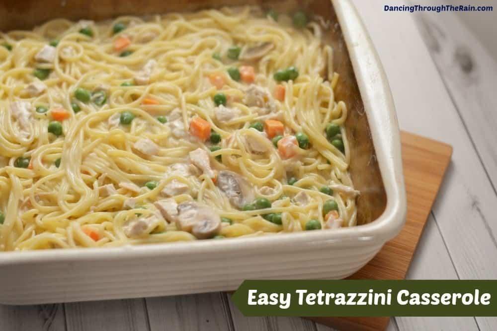 Tetrazzini Casserole in a baking dish