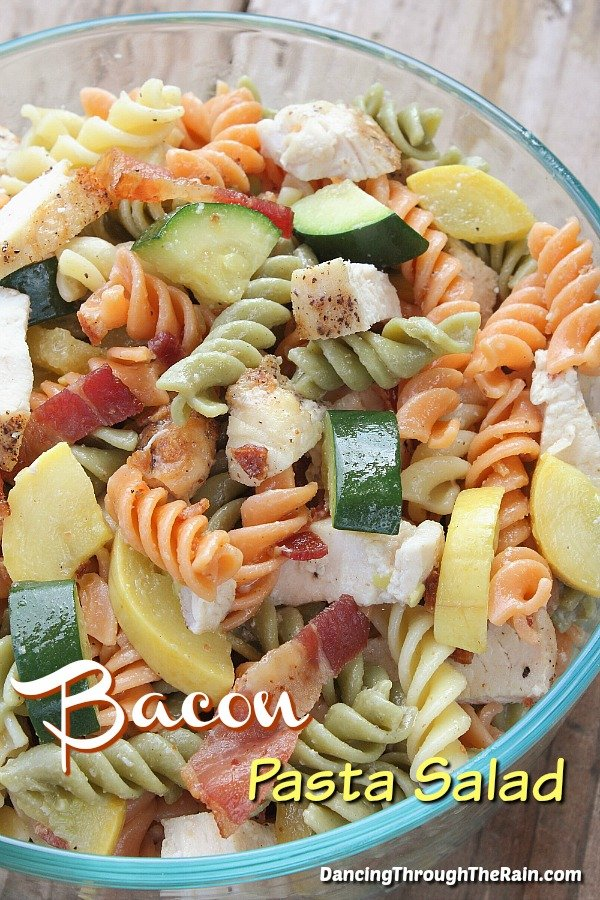 Bacon Chicken Ranch Salad in a clear bowl