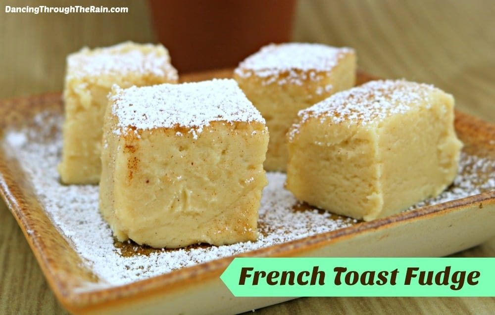 French Toast Fudge cubes on a plate