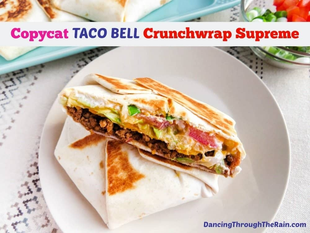 Copycat Taco Bell Crunchwrap Supreme on a white plate