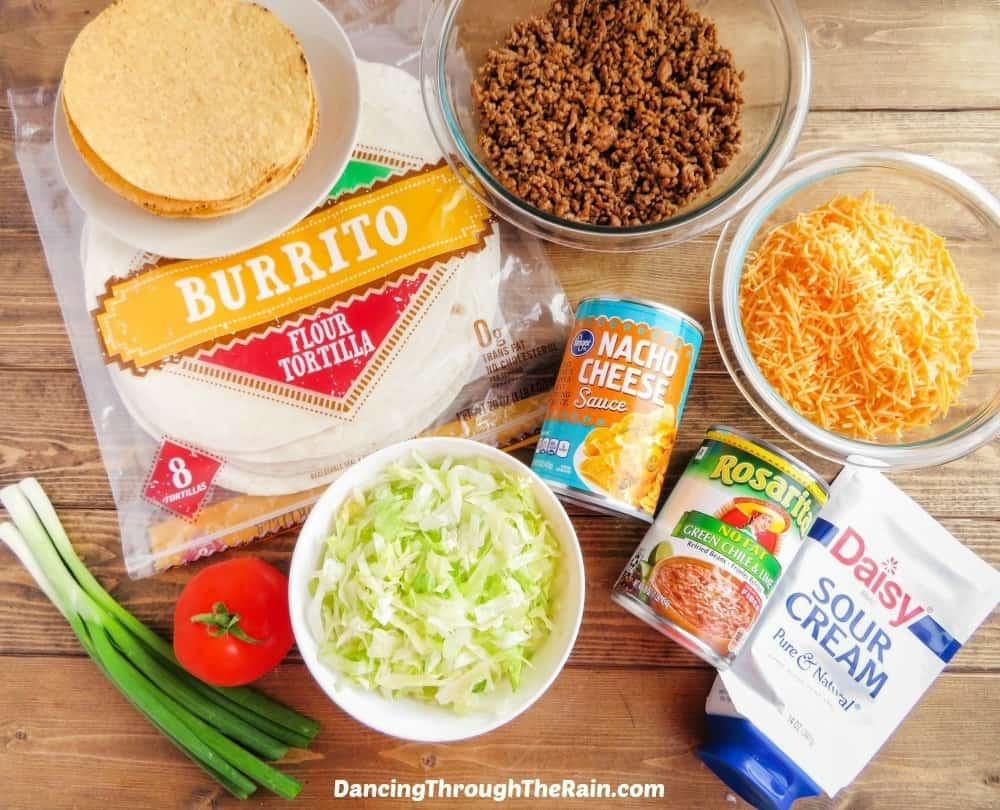 Ingredients for the Copycat Taco Bell Crunchwrap Supreme
