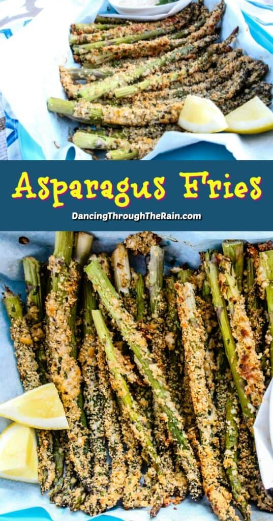 Two pictures of asparagus fries on a light blue tray on parchment paper next to two lemon wedges