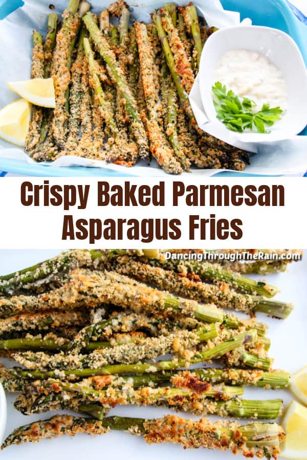 Two pictures of Crispy Baked Parmesan Asparagus Fries on parchment paper with two lemon wedges