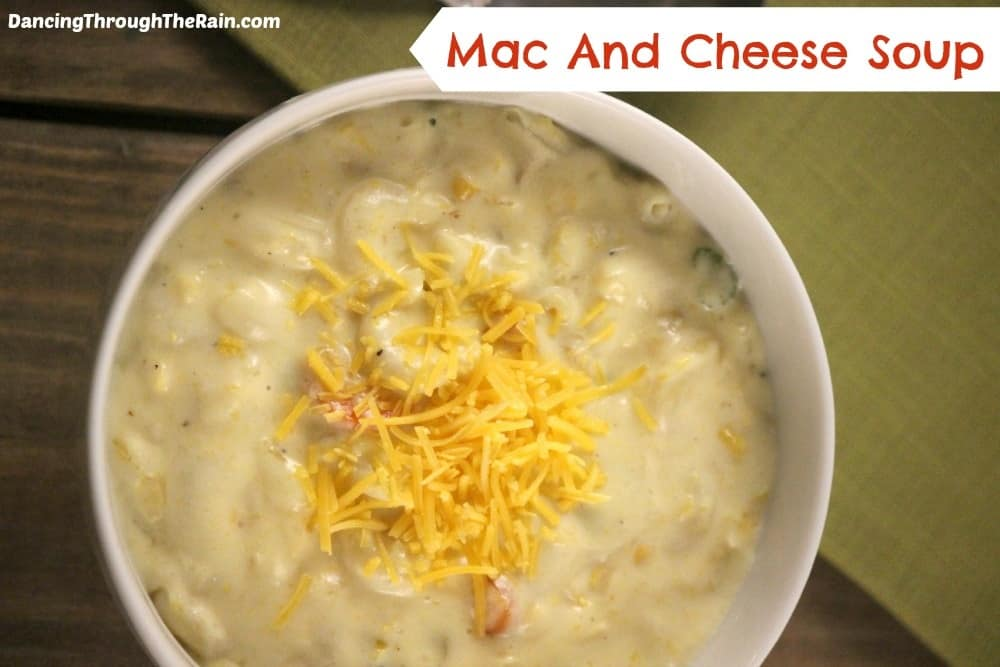Mac & Cheese Soup in a white bowl