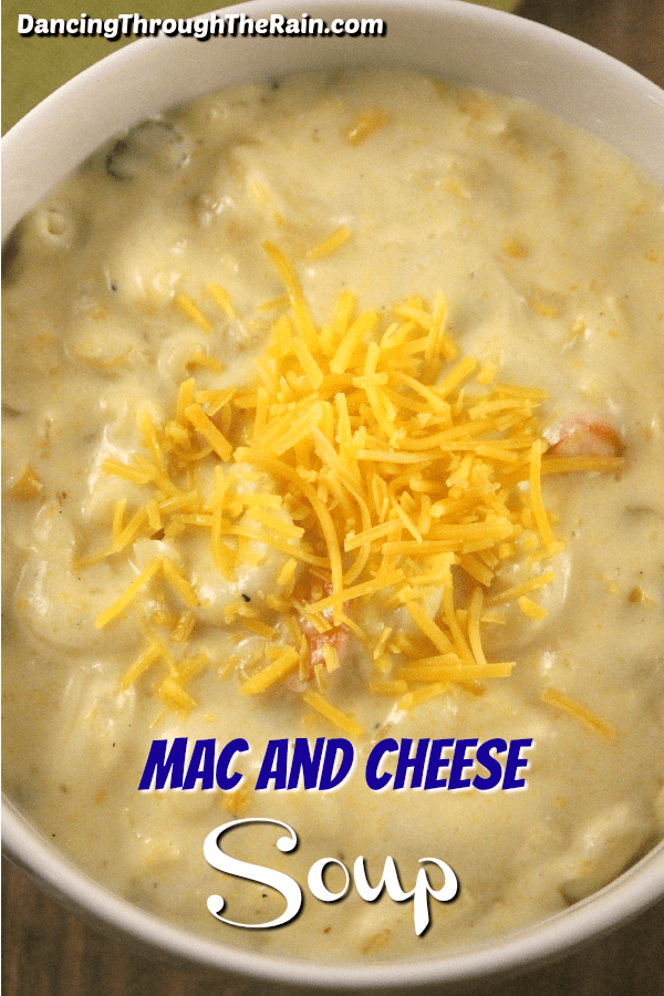 A closeup of mac and cheese soup in a white bowl