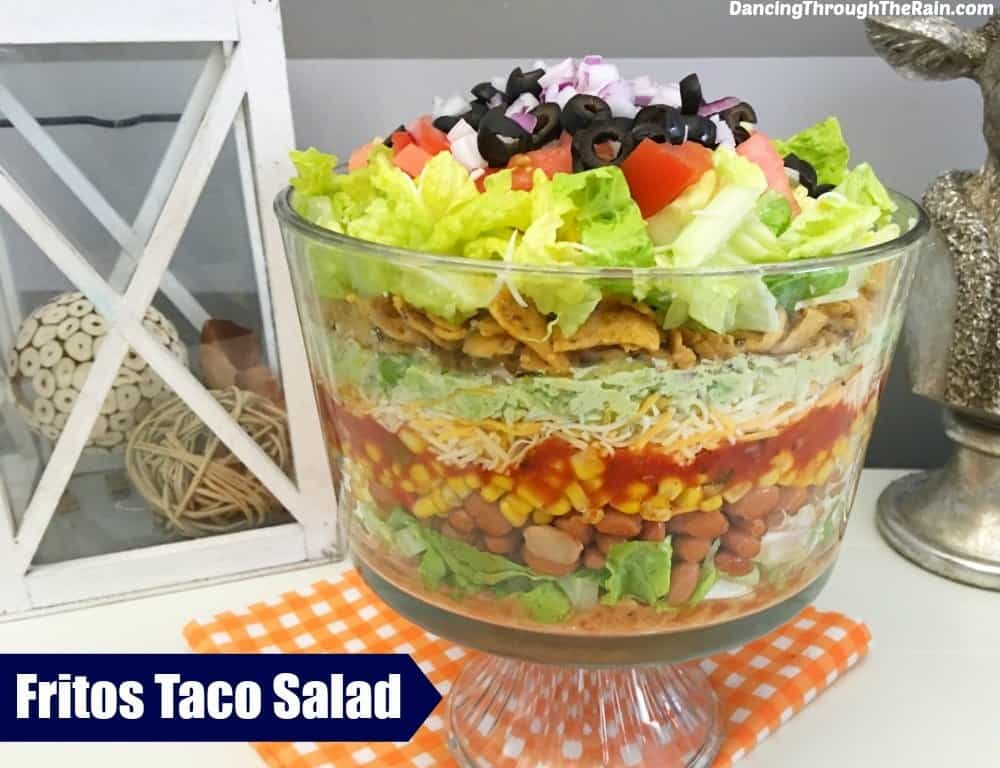 Taco Salad with Fritos in a trifle bowl