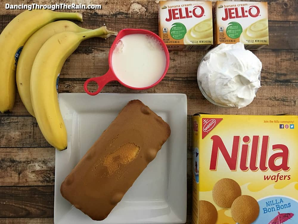 Ingredients for a banana trifle