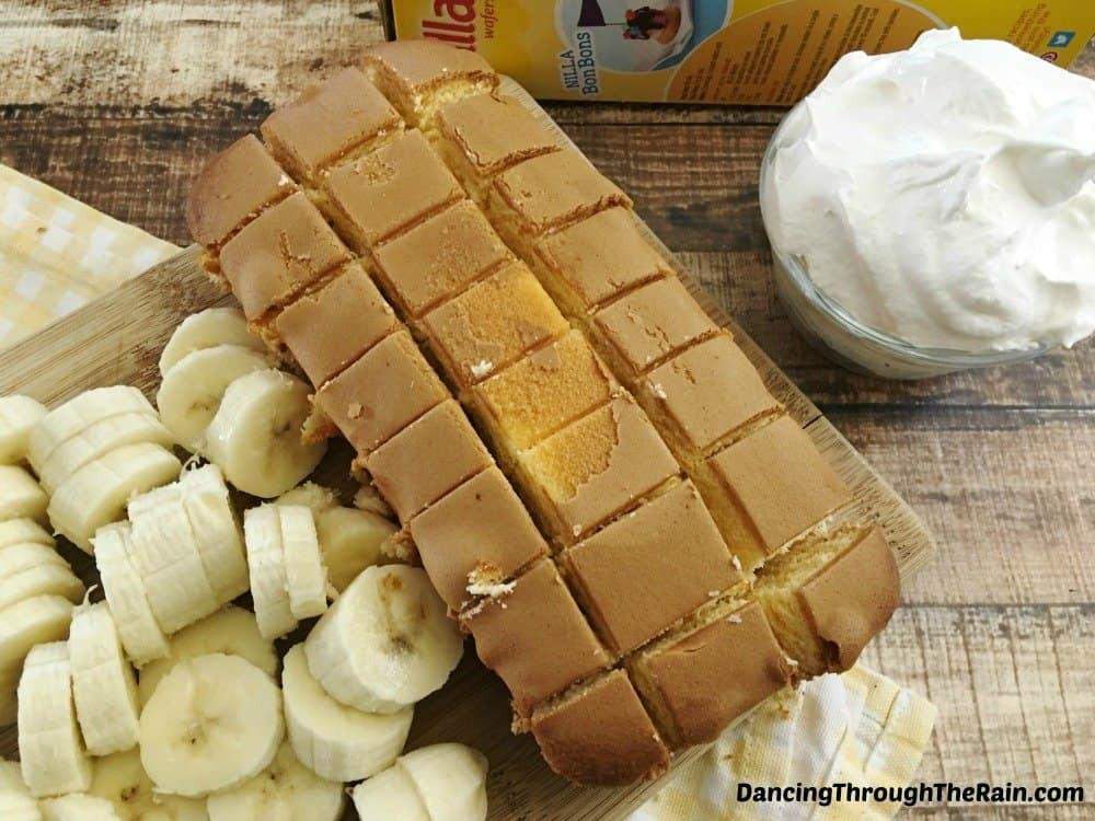 Sliced pound cake and sliced bananas on a table