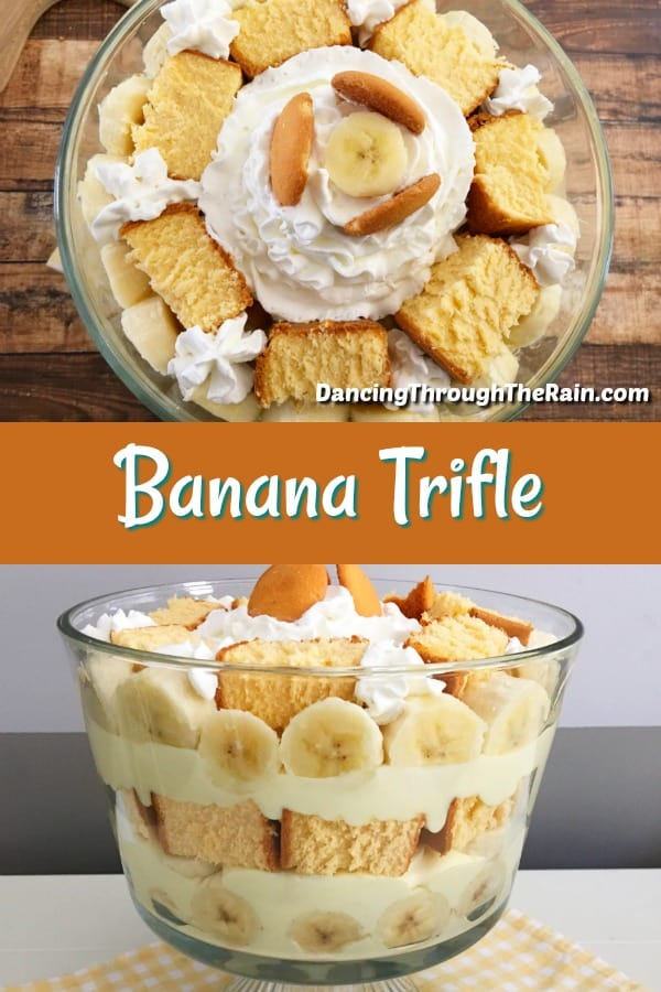 This Banana Pudding Trifle is the perfect dessert to make any time of year! A good banana trifle recipe is one that will have your guests gawking and it's one of those delicious desserts that they will ask you to make over and over. Because banana recipes fit most occasions, you can pull it out at any time! #bananatrifle #bananapuddingtrifle #banana #dessert #triflerecipes