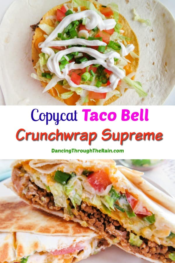 Two images of the copycat crunchwrap supreme, one while being constructed, the other of it cut in half and closeup
