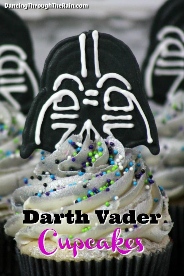 Three Darth Vader cupcakes