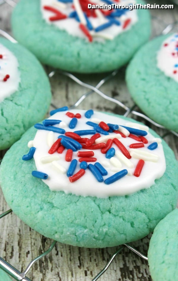 Red White and Blue Cookies on a baking rack