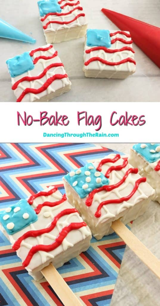 Two pictures of No-Bake Flag Cakes, one of them being decorated and the other with three flags on display on top of a red white and blue zigzag placemat