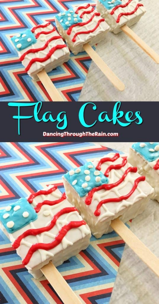 Two pictures of Flag Snack Cakes on a zigzag placemat