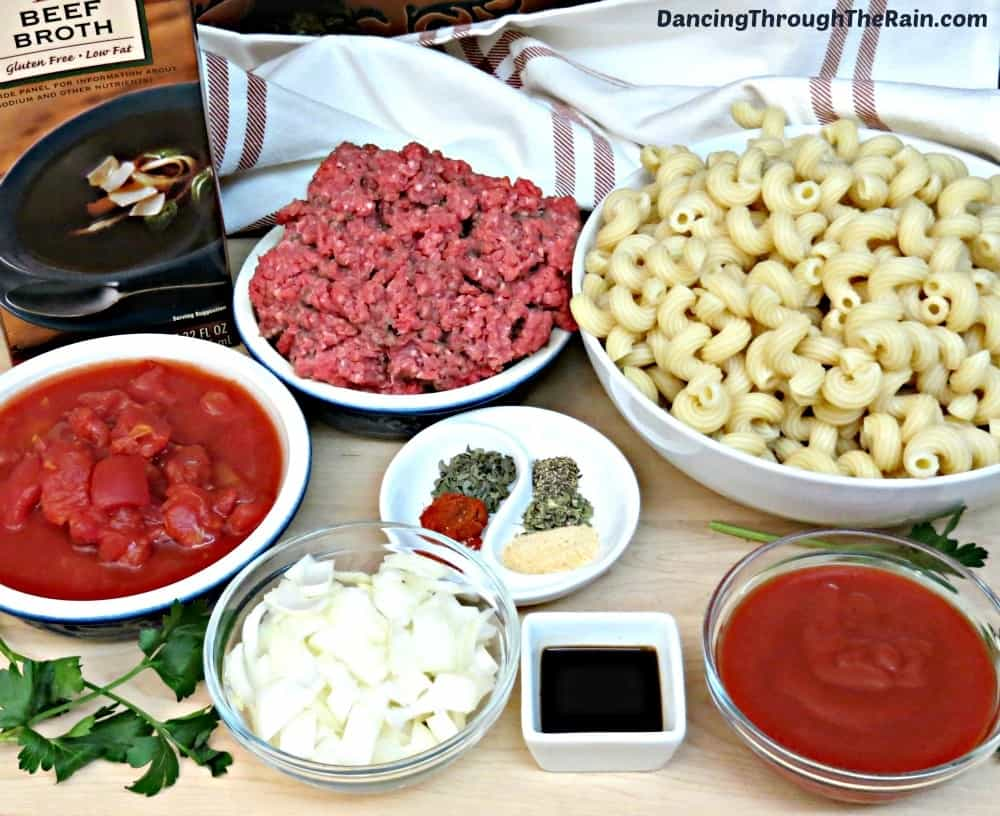 Ingredients for Old Fashioned Goulash on a table