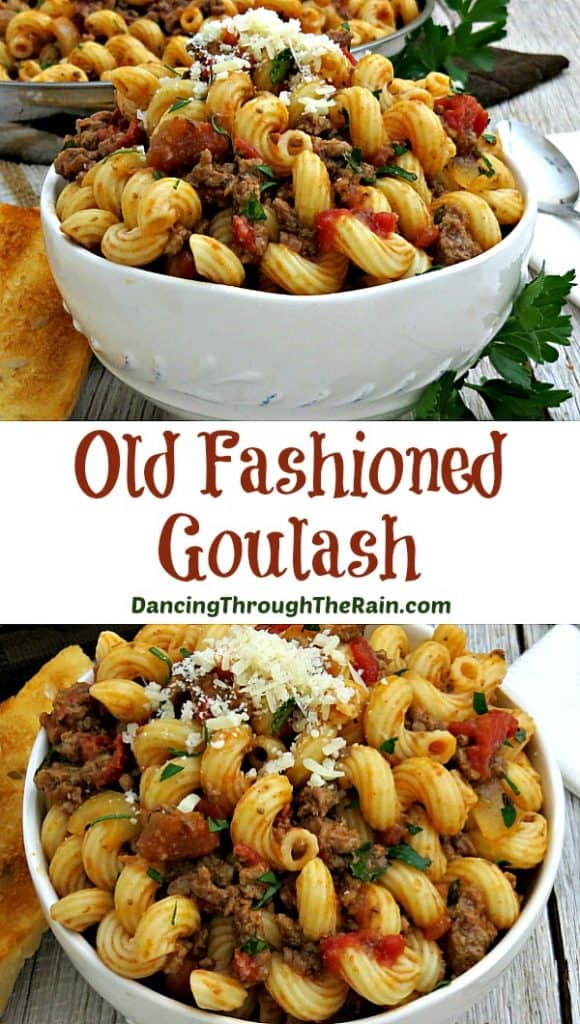 Old Fashioned Goulash in a white bowl