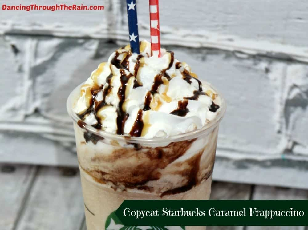 Copycat Starbucks Caramel Frappuccino in a cup