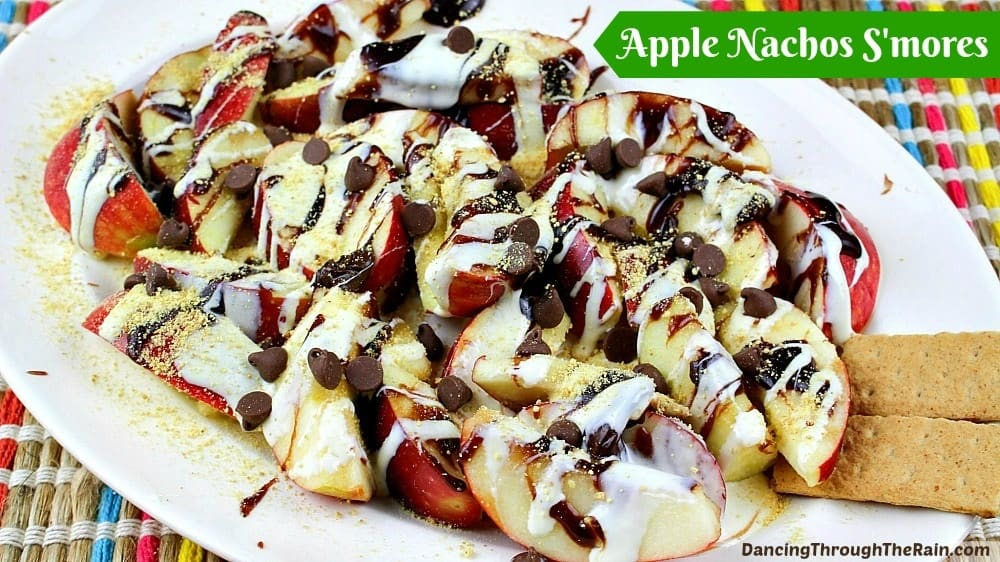 Apple Nachos S'mores on a white plate