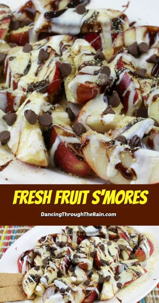 Two pictures of Apple Smores Nachos