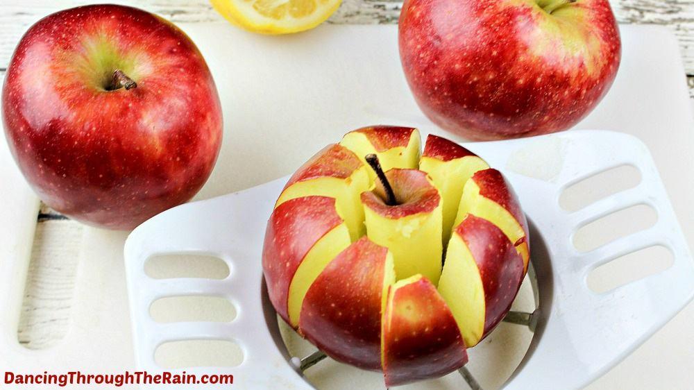 Sliced apples with an apple slicer