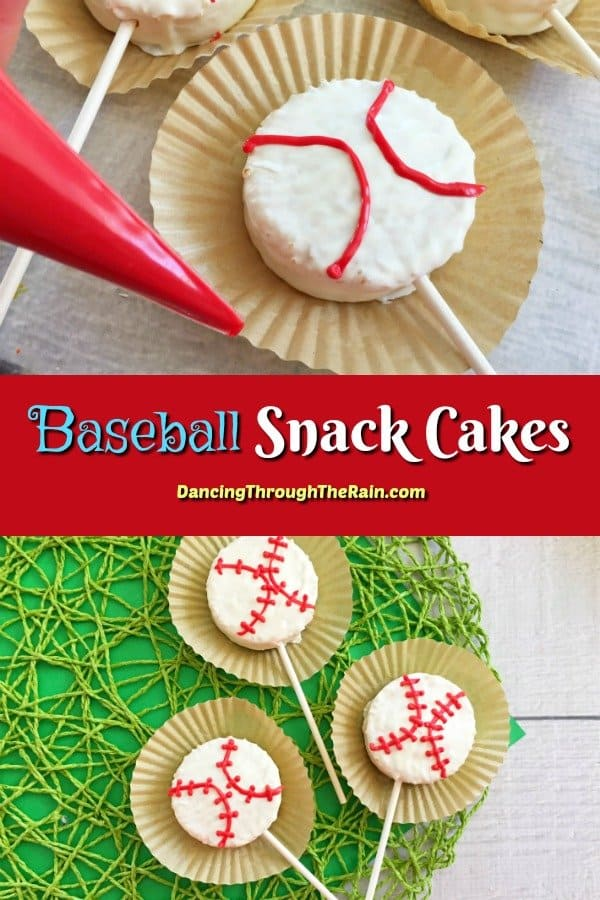 Baseball snack cakes being decorated with a pastry bag and three finished baseball snack cakes