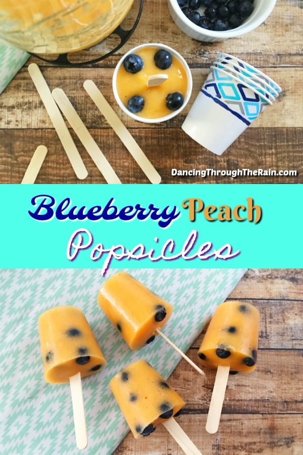 Blueberry Peach Popsicles pictures, one with them in Dixie cups surrounded by popsicle sticks, the other laying on a wooden table