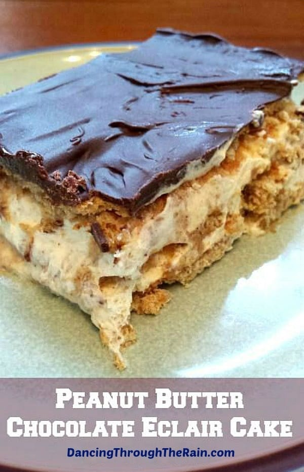 Peanut Butter Chocolate Eclair Cake on a plate