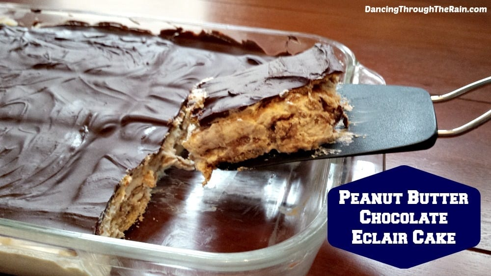 Peanut Butter Chocolate Eclair Cake in a baking dish