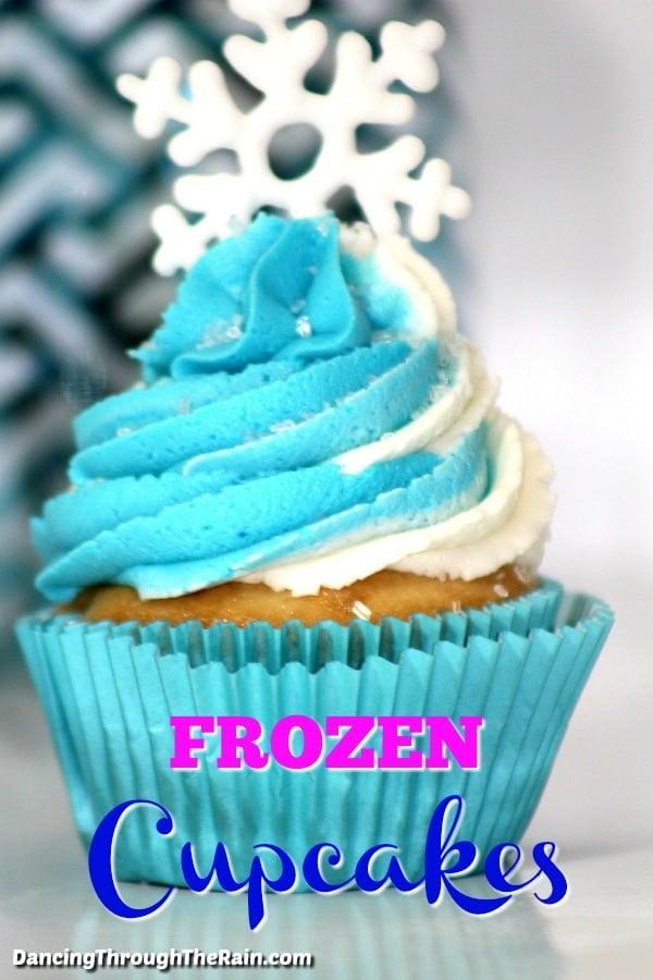 A closeup of one Frozen Cupcake