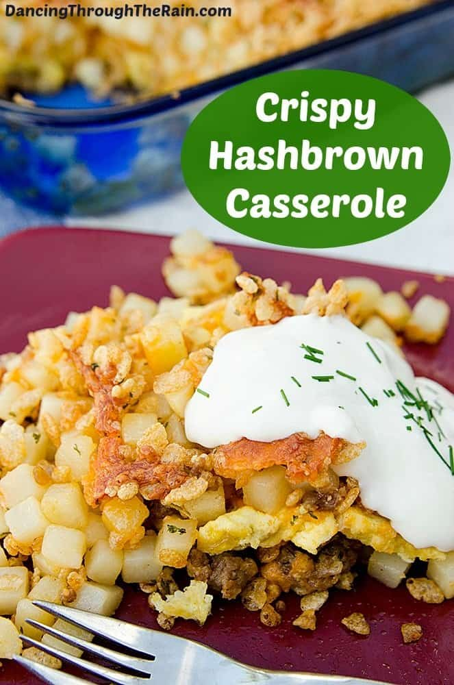 Crispy Hashbrown Casserole on a maroon plate