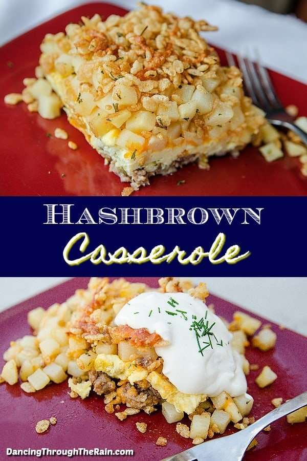Two pictures of Hashbrown Casserole, one with a slice on a red plate, the other topped with sour cream
