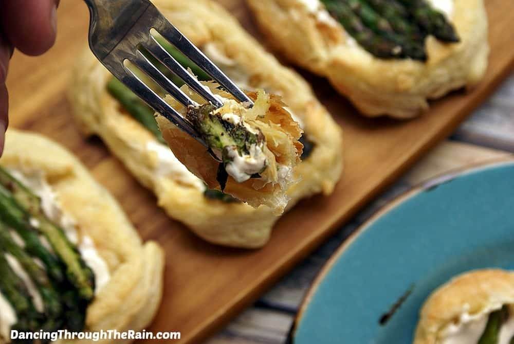 Asparagus Puff Pastry Tarts with fork