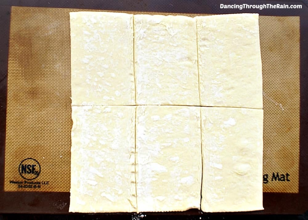 Phyllo Dough cut into rectangles