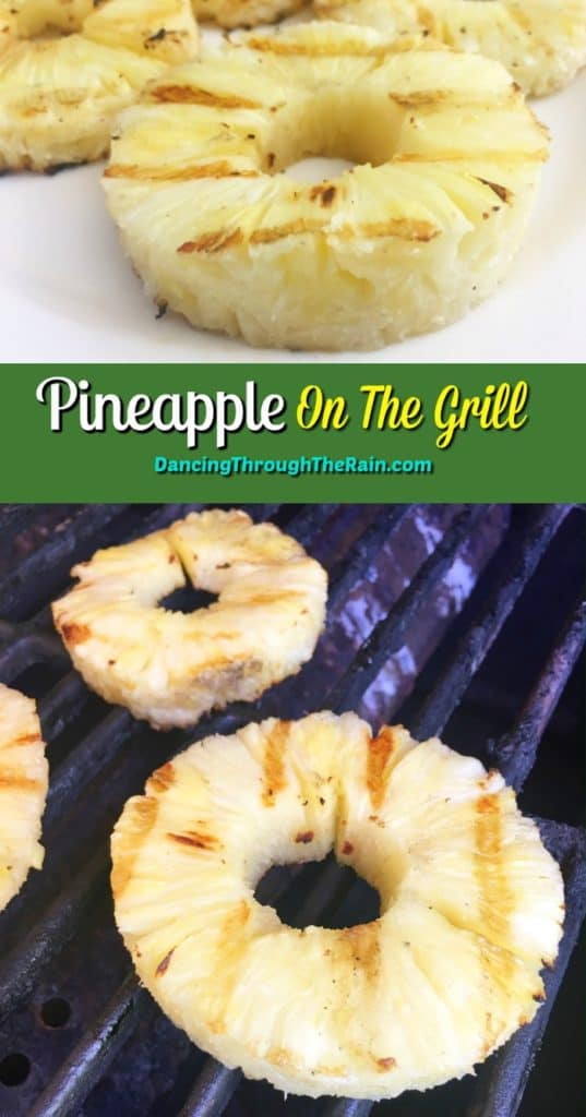 A picture of three rings of grilled pineapple on a white plate and another of three rings of pineapple being grilled directly on the grates of a barbecue