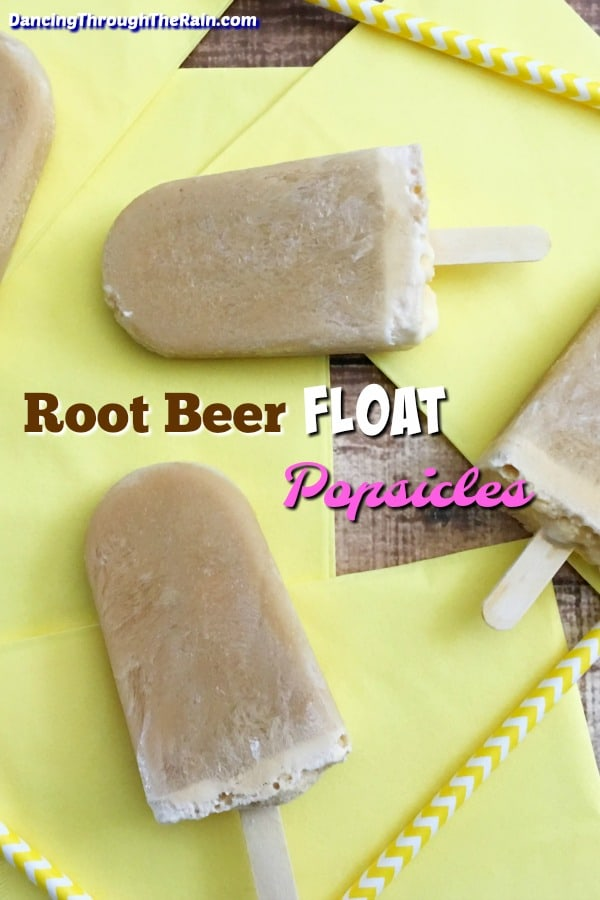 Several Root Beer Float pops on a yellow napkin
