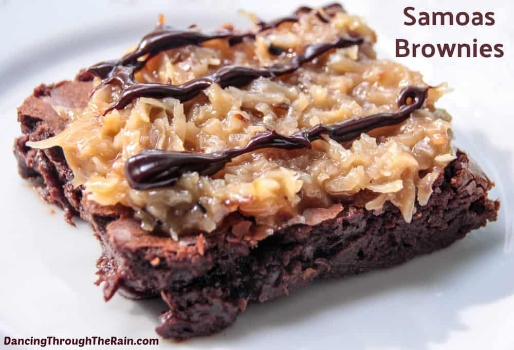 Samoas Brownies on a white plate