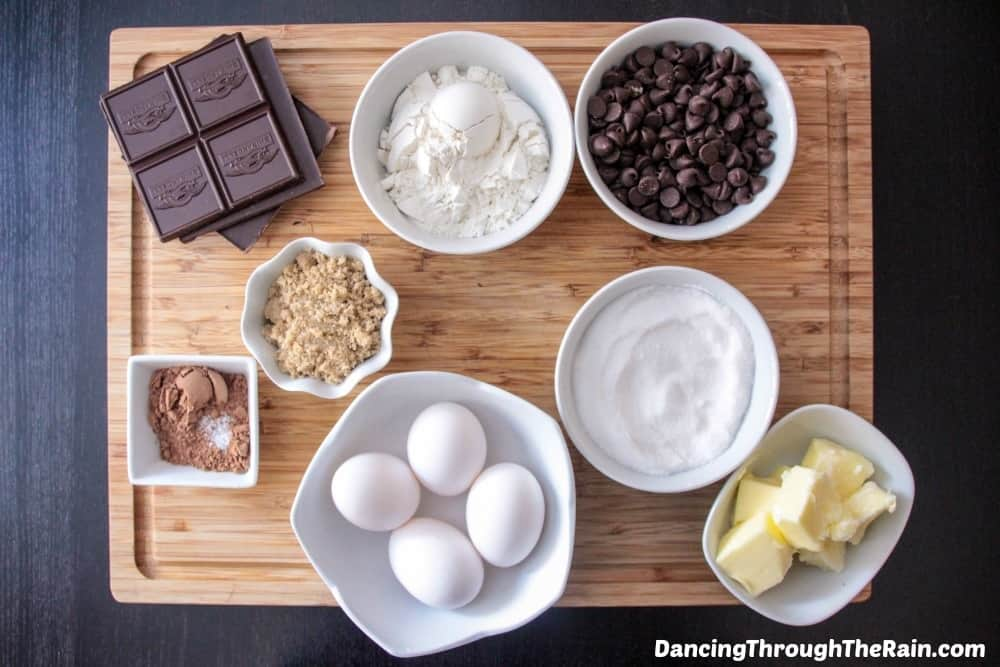 Ingredients for Samoas Brownies on a cutting board