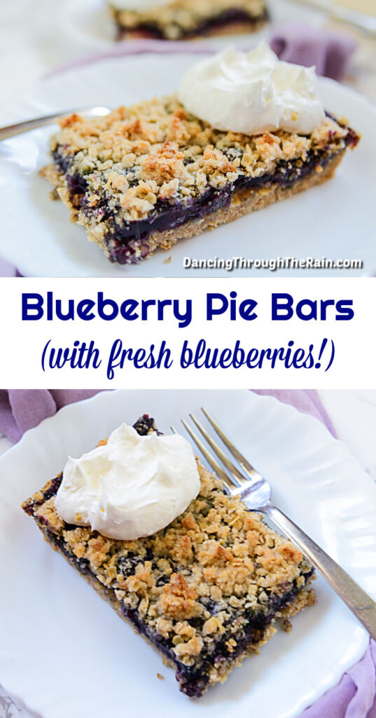 Two pictures of Blueberry Pie Bars on a white plate with a metal fork