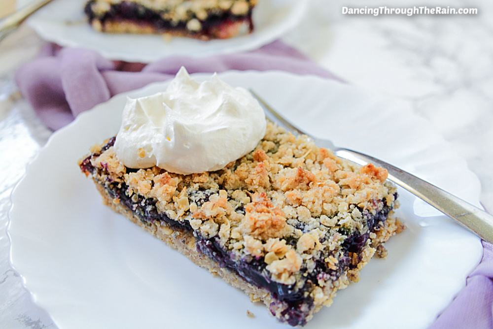 One Blueberry Crumble Bar on a white plate next to a metal fork